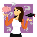 Young woman worries about student loans a female is worried making tough decisions and the money that goes into her education Stock Photography