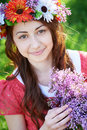 Young Woman With Wreath And Wi...