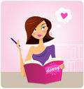 Young woman writing diary or journal Stock Photos