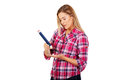 Young woman writing something big pencil Royalty Free Stock Photo