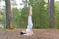Young woman in Yoga shoulder stand pose in the forest Stock Image