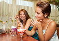 Young women in the caffee Royalty Free Stock Photography