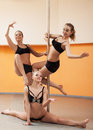 Young women doing gymnastic exercise Royalty Free Stock Photos