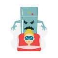 Young women nightmare. scary refrigerator and sleeping girl. vector flat cartoon character illustration.  on white Royalty Free Stock Photo