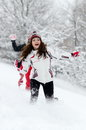 Young women outdoor in winter enjoying the snow Royalty Free Stock Photos