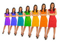 Young women with rainbow color dress collage Royalty Free Stock Photo