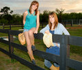Young women at ranch Stock Photography