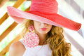 Young women in a red hat close-up Stock Image