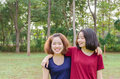 Young women smile after excercise two asian together Stock Images