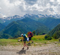 Young women trekking in svaneti georgia Stock Photo