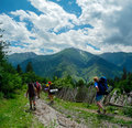 Young women trekking in svaneti hikers georgia Royalty Free Stock Photo