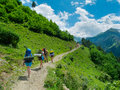 Young women trekking in svaneti hikers georgia Stock Photos