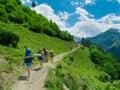 Young women trekking in svaneti hikers georgia Stock Photos
