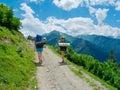 Young women trekking in svaneti hikers georgia Royalty Free Stock Photo