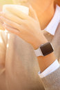 Young women wears smart watch Royalty Free Stock Photo