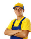 Young worker fold his arms and smile Stock Images
