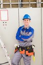 Young worker man with hard hat Royalty Free Stock Photo