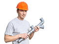 Young working plumber tool Royalty Free Stock Image