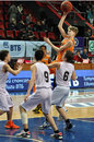Youngest player jumping for the ball photo was taken during match between bc donetsk donetsk vs yenisei krasnoyarsk playoffs vtb Stock Image