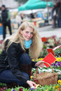 Younghousewife buys cheerful flowers on the market Stock Photo