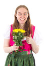 Youngster bought yellow roses for mothers day beautiful Royalty Free Stock Photography