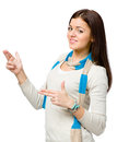 Youngster hand guns gesturing wears colored scarf isolated on white Royalty Free Stock Photos