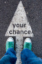 Your chance sign green shoes standing on Stock Photo