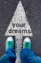 Your dreams sign green shoes standing on Stock Photo