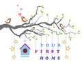 Your first home house moving-in greeting card Royalty Free Stock Photo