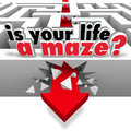 Is your life a maze directionless need help guidance the words asking you the question of whether you or direction to find way Stock Image