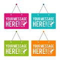 Your Message here hanging Door Sign. Royalty Free Stock Photo