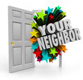 Your neighbor open door community meet introduce people next doo words in d white letters coming out an to illustrate meeting or Stock Photo