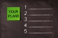 Your plans list note pasted on blackboard which can be background for Stock Photo