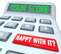 Your score calculator adding total result numbers on a to illustrate credit rating performance review or other mathematic as Stock Photography