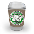 Your second office coffee cup cafe shop work away mobile product words on a to illustrate at a or and being productive and Stock Photo