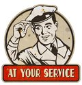 At Your Service Man Sign Retro Vintage Metal Tin