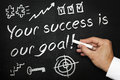 Your success is our goal. Blackboard or chalkboard with hand and chalk. Royalty Free Stock Photo