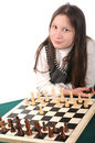Your turn. Girl inviting to play chess Royalty Free Stock Photography
