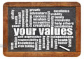 Your values word cloud life on a vintage slate blackboard Stock Photo