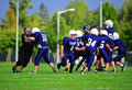 Youth American Football blocking Stock Photography