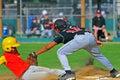 Youth Baseball out at 3rd Royalty Free Stock Photo