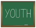 Youth concept illustration depicting a green chalkboard with a Stock Images