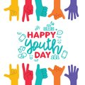 Youth Day greeting card with diverse teen hands Royalty Free Stock Photo