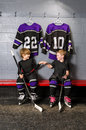 Youth Hockey Players in Fist Pump Stock Image
