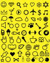 Youth icons vector black different on a yellow background Royalty Free Stock Images
