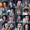 Youth lifestyle portraits of girl and boy collage Royalty Free Stock Photos