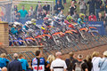 Youth moto x hawkstone uk september riders in the section of the red bull pro nats uk mx championship get under orders to start Royalty Free Stock Image