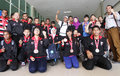 Youth paragames athlete disabled showing their asen medal at malaysia in solo central java indonesia Stock Photos