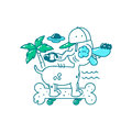 Youth T-shirt print design. Cool Dog in hat on skateboard bone rides on the beach. palm tree, ufo and sea. Vector doodle illustrat Royalty Free Stock Photo