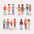 Youth teens group vector grouped teenagers and friends characters of girls or boys together illustration young student